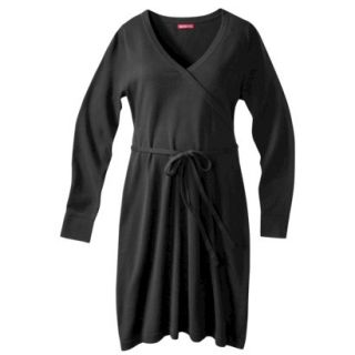 Merona Maternity Long Sleeve V Neck Sweater Dress   Black XXL