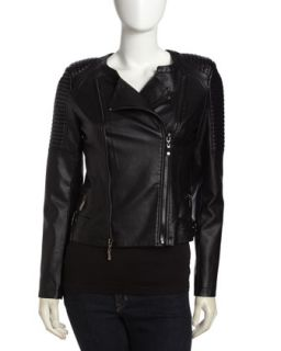 Quilted Faux Leather Moto Jacket, Black