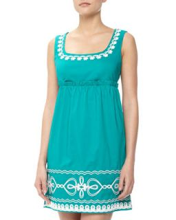 Floral & Heart Rope Embroidered Dress, Conely Emerald Green