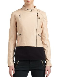 Sunburst Faux Leather Moto Jacket   Nude