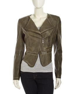 Faux Leather Zip Moto Jacket, Light Olive