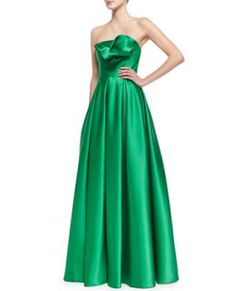 Womens Strapless Ruffle Bodice Gown, Kelly Green   Carmen Marc Valvo