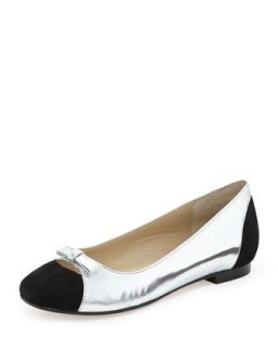 Alegra Mirrored Kid Leather & Kid Suede Ballet Flat, Silver and