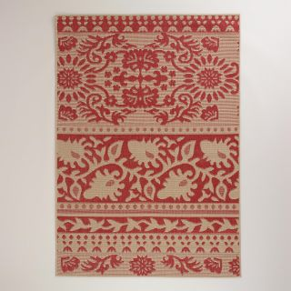 5x7 Red Ban Thai Indoor Outdoor Rug   World Market