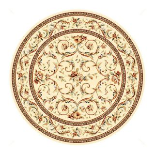 Lyndhurst Collection Traditional Ivory/ Ivory Rug (5 3 Round)