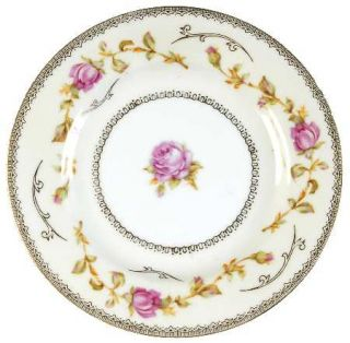 Richelieu Rih1 Bread & Butter Plate, Fine China Dinnerware   Pink Long Stem Rose