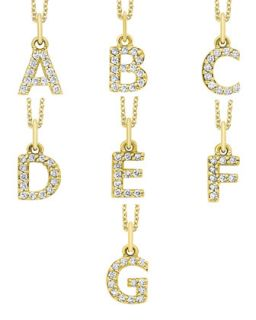 14K Yellow Gold Diamond Initial & Chain