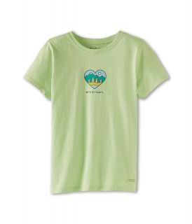 Life is good Kids Wild At Heart Crusher Tee Girls Short Sleeve Pullover (Green)