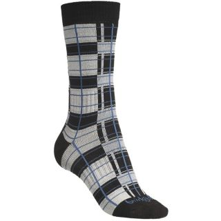 Bridgedale Plaid Socks   Rayon  Crew (For Women)   BLACK/PINK PLAID (M )