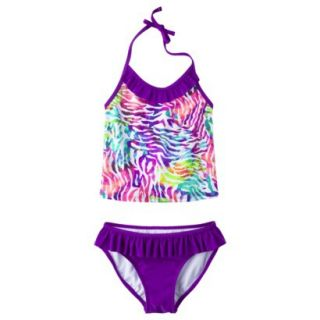 Xhilaration Girls Purple Halter Tankini Swimsuit   M