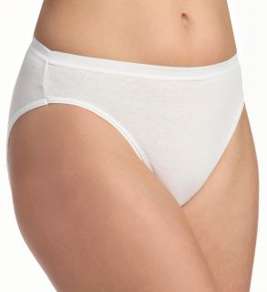 Fruit Of The Loom 3DHICWH Ladies Cotton Hi Cut White Panties 3 Pack