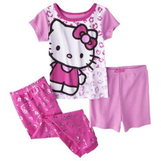 Hello Kitty Toddler Girls 3 Piece Short Sleeve Pajama Set   Pink 3T
