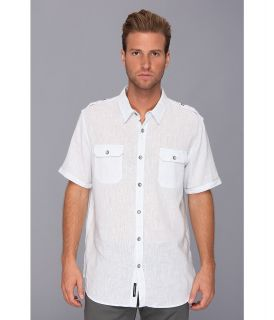 DKNY Jeans S/S End On End Linen/Cotton Shirt City Press Mens Short Sleeve Button Up (Blue)