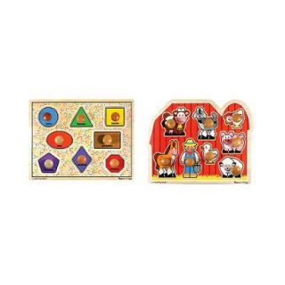 Melissa & Doug Large Shapes and Large Farm Wooden Jumbo Knob Puzzle Bundle