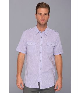 DKNY Jeans S/S End On End Linen/Cotton Shirt City Press Mens Short Sleeve Button Up (Purple)
