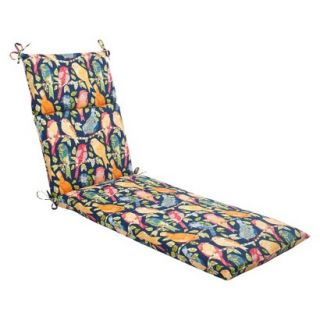 Outdoor Chaise Lounge Cushion   Blue/Orange Birds