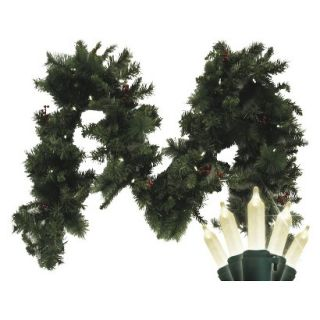 Pre Lit Battery Operated LED Fir Garland   White Lights (9)