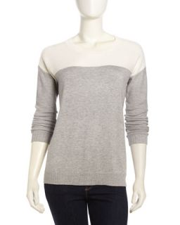 Long Sleeve Ribbed Knit Sweater, Heather Gray