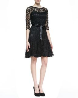 Womens 3/4 Sleeve Lace Overlay Cocktail Dress, Black   Rickie Freeman for Teri