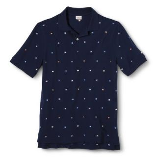 Mens Classic Fit Print Polo Shirt SS Navy S