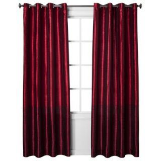 Threshold Banded Faux Silk Window Panel   Red (54x84)