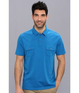 Perry Ellis S/S Cotton Patch Pocket Polo Mens Short Sleeve Pullover (Blue)