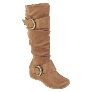 Womens Bamboo By Journee Slouchy Buckle Boots   Camel 9W