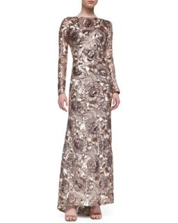 Womens Long Sleeve Sequined Floral Gown, Rose Gold   Badgley Mischka Collection