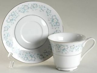 Style House Damask (Rim Shape) Footed Cup & Saucer Set, Fine China Dinnerware