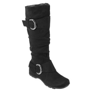 Womens Bamboo By Journee Slouchy Buckle Boots   Black 8.5W
