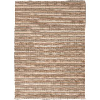 Handmade Naturals Solid Pattern Brown Wool Rug (36 X 56)