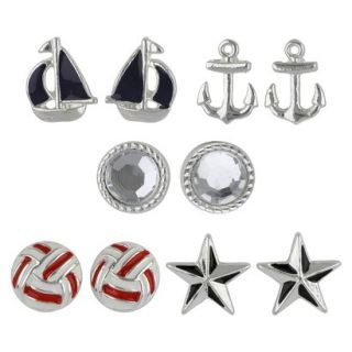 Social Gallery by Roman Button Post Earrings 5 Pairs Nautical Gift Box Set