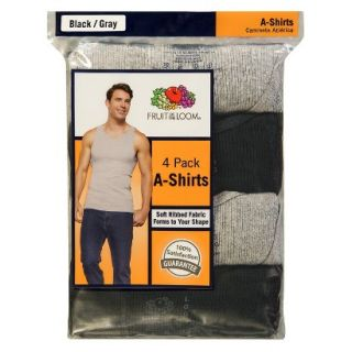 Fruit of the Loom Mens A Shirts 4 Pack   Black/Grey XXL