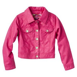 Dollhouse Girls Faux Leather Quilted Jacket   Pink 5 6