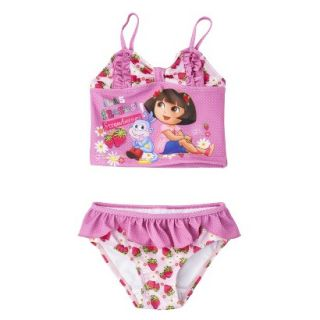 Dora the Explorer Toddler Girls 2 Piece Tankini Swimsuit Set   Pink 3T