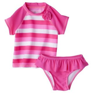 Circo Infant Toddler Girls 2 Piece Stripe Rashguard Set   Pink 12 M