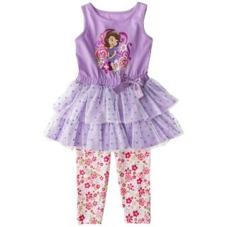 Disney Sofia the First Toddler Girls Sleeveless Tutu Dress and Floral Legging