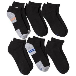Hanes Boys 6 Pack Ankle Socks   Black L