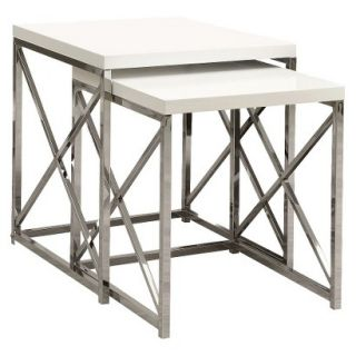 Accent Table Monarch Specialties Nesting Table 2 Piece Set   White