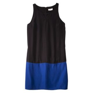 Merona Womens Colorblock Hem Shift Dress   Black/Waterloo Blue   L
