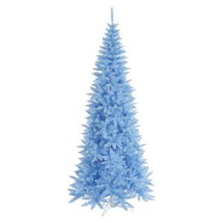 7.5 Pre Lit Sky Blue Slim Fir Tree   Blue Lights