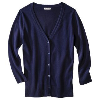 Merona Petites Long Sleeve Crew Neck Cardigan Sweater   Navy LP
