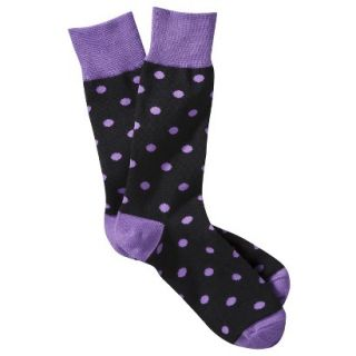Merona Mens 1pk Dress Socks   Black/Purple Polka Dots