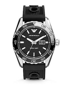 Emporio Armani Round Stainless Steel Watch   Black