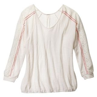 Womens Plus Size Long Sleeve Lace Top   Cream 1
