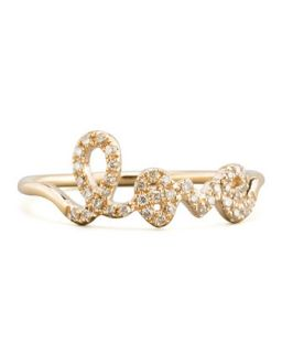 14k Yellow Gold Diamond Love Script Ring   Sydney Evan