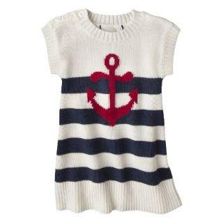 Infant Toddler Girls Striped Anchor Sweater Dress   White/Navy 4T