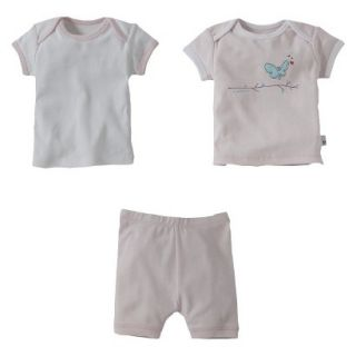 Burts Bees Baby Infant Toddler Girls 3 Piece Short Sleeve Butterfly Pajama