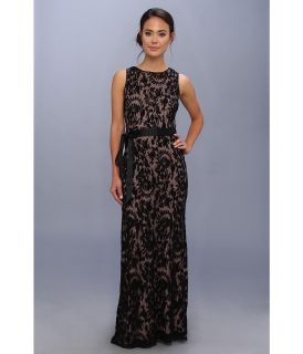 Adrianna Papell Embroidered Lace Gown w/ Nude Lining Womens Dress (Black)