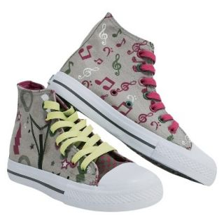 Girls Xolo Shoes Rocker Girl High Top Canvas Sneakers   Gray 4